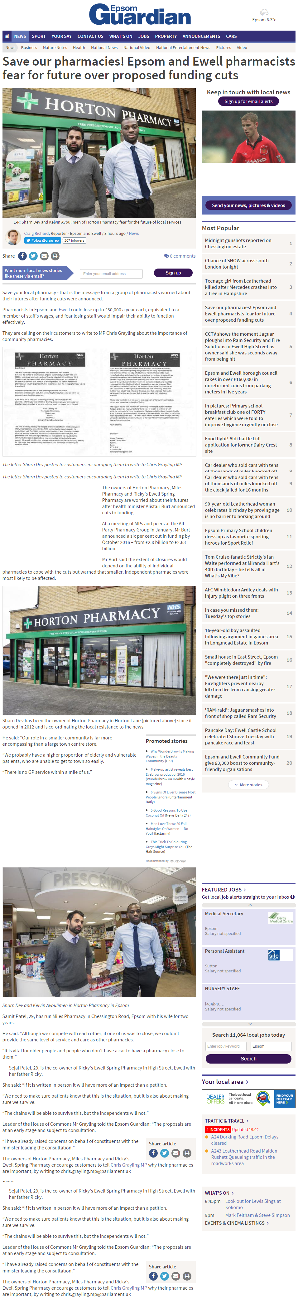 2016 02 17 - Epsom Guardian - Save Our Pharmacies