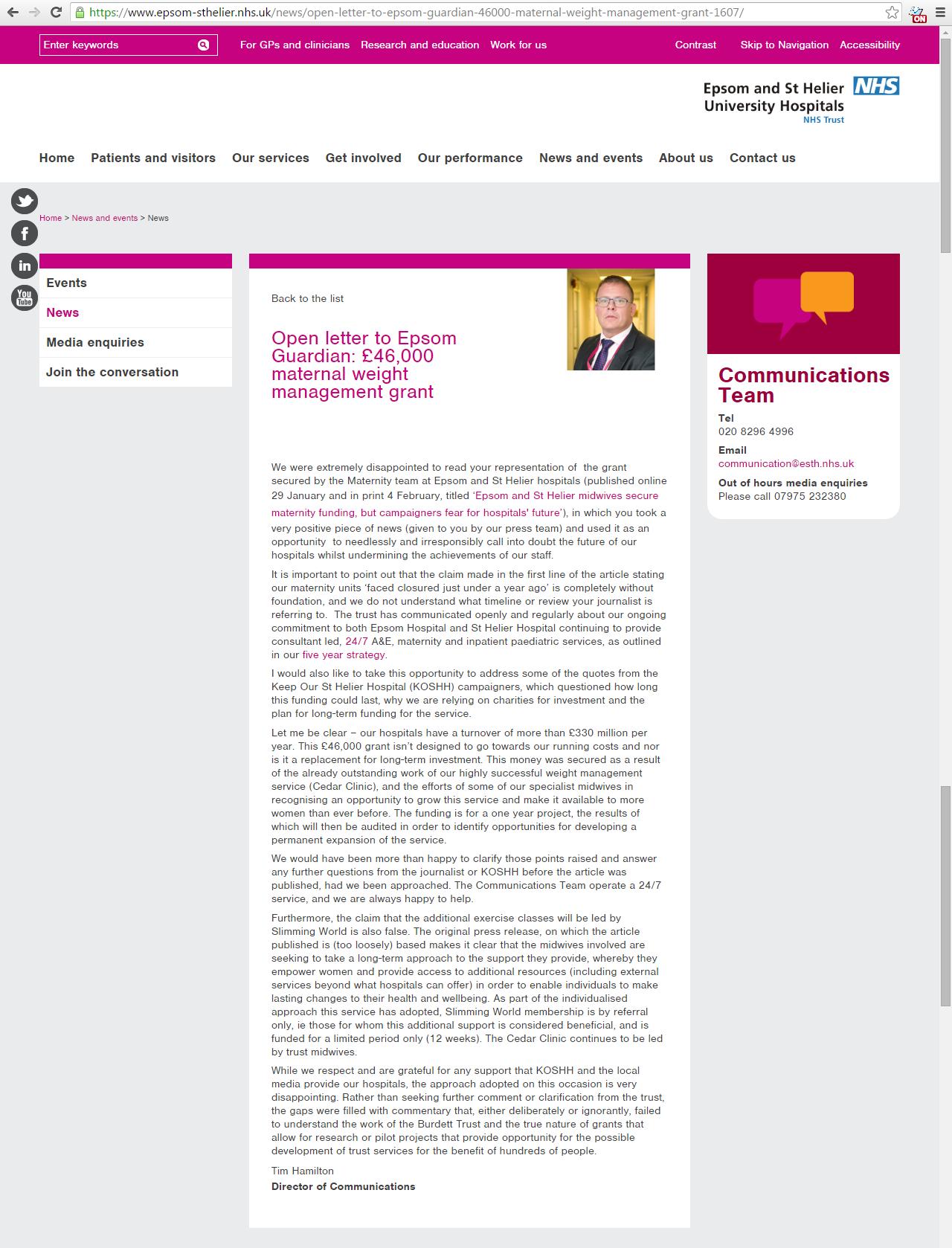 20160204 - Epsom St Helier Trust - Open Letter to Epsom Guardian
