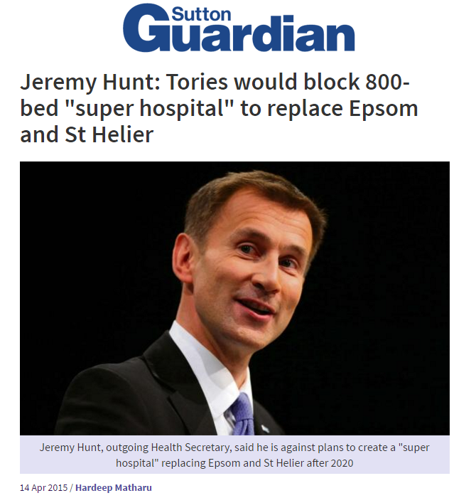 2015 04 14 - Sutton Guardian - Hunt would block new hospital in SW London Headline