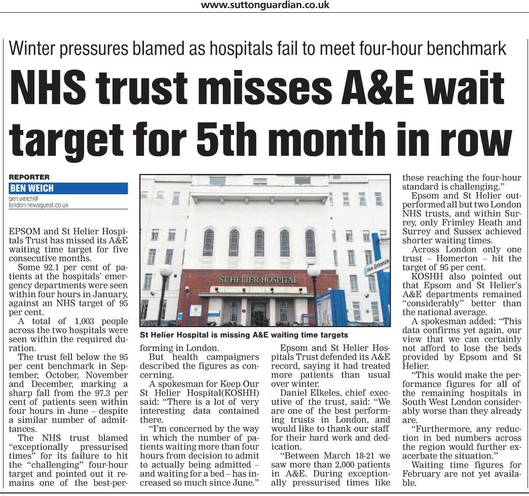 2016 03 31 - Sutton Guardian - Epsom + St Helier miss A+E Target for 5 months