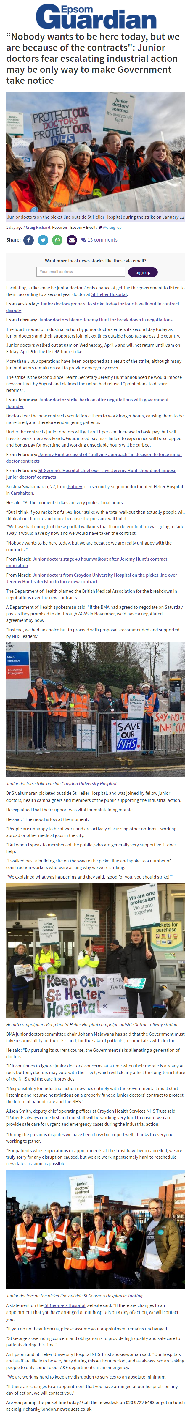 2016 04 07 - Epsom Guardian - Junior Doctors Strike