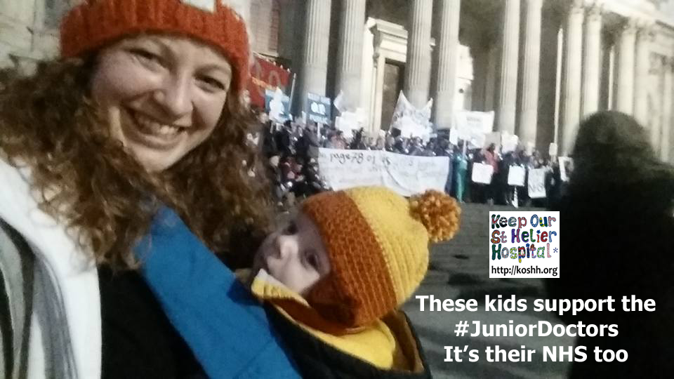 "This is Jessica Potter and her baby Gael:  ""Gael Potter aged 5 months here. Junior doctors whipped him out if me late night on a Saturday and then spent the rest of the night keeping my BP up due to septic shock. We are eternally grateful to the Royal London teams on that night."""