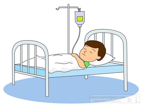 boy sick in hospital bed with iv bottle clipart