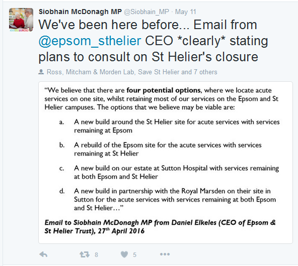 2016 05 11 - Tweet by Siobhain McDonagh about email from Daniel Elkeles