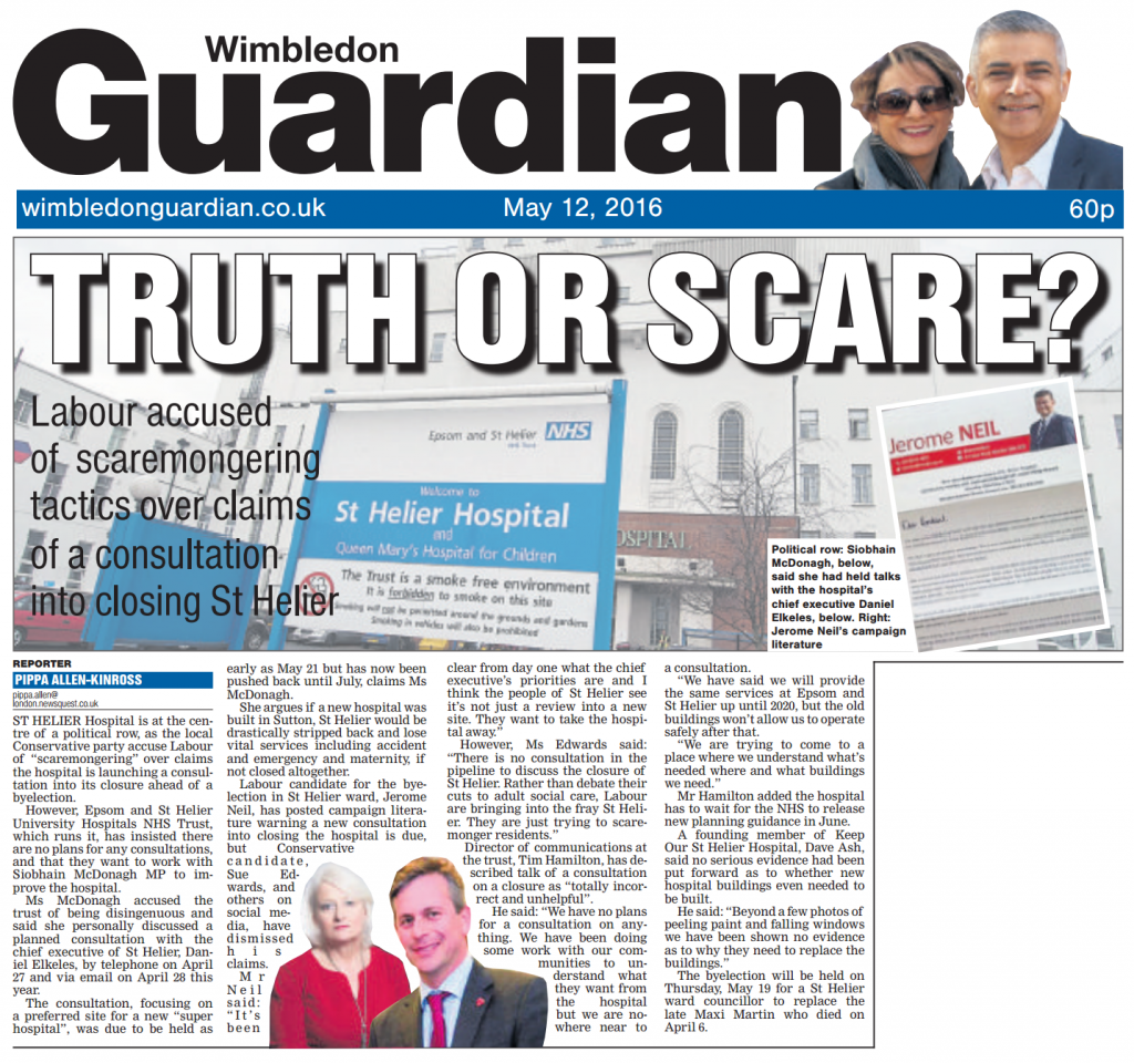 2016 05 12 - Wimbledon Guardian - Truth or Scare