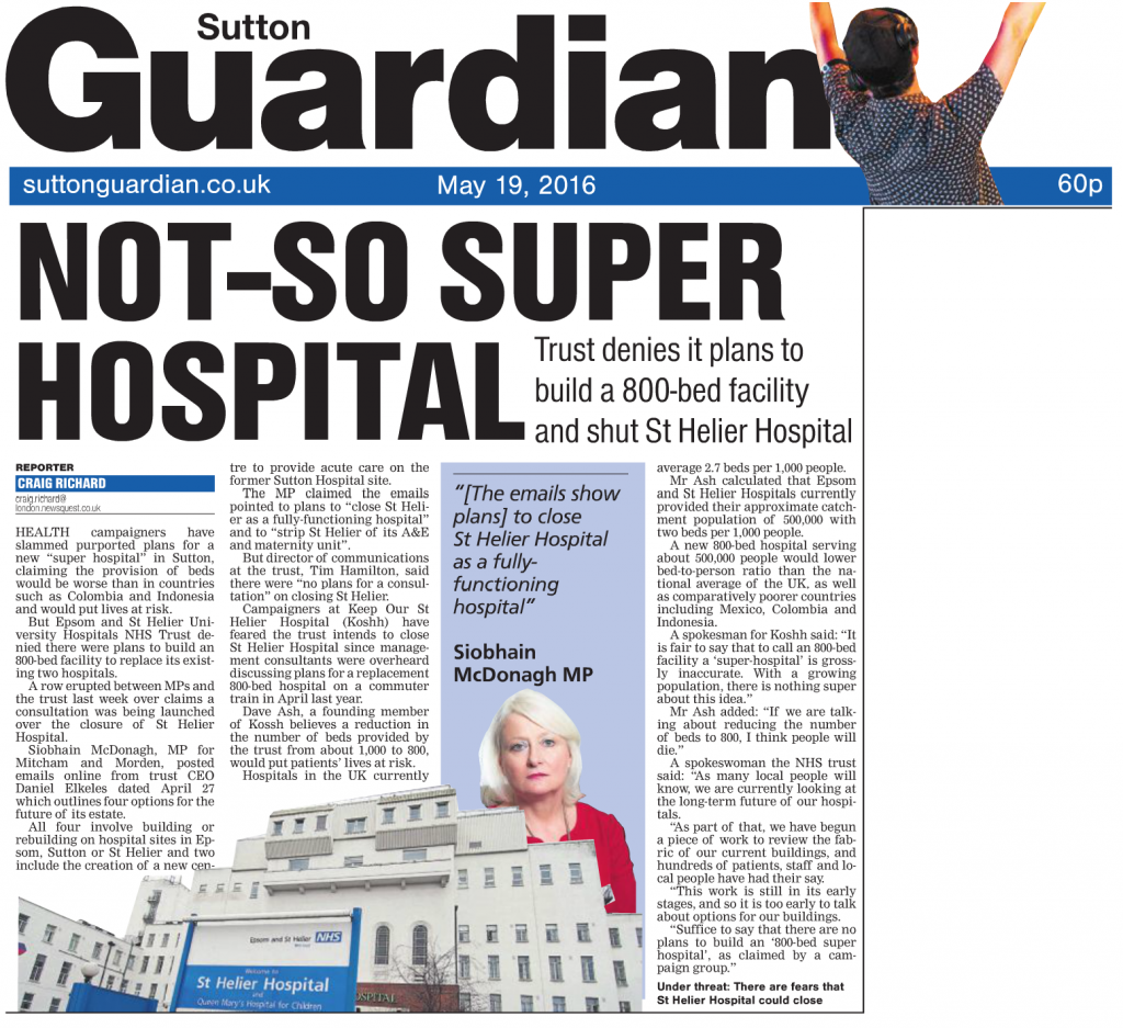 2016 05 19 - Sutton Guardian - Not so super hospital
