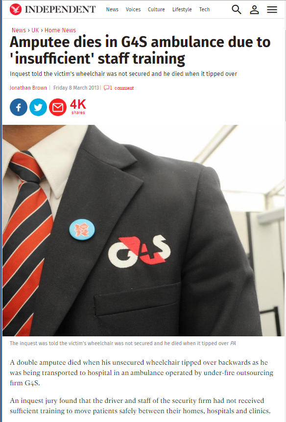 Amputee dies in the care of G4S