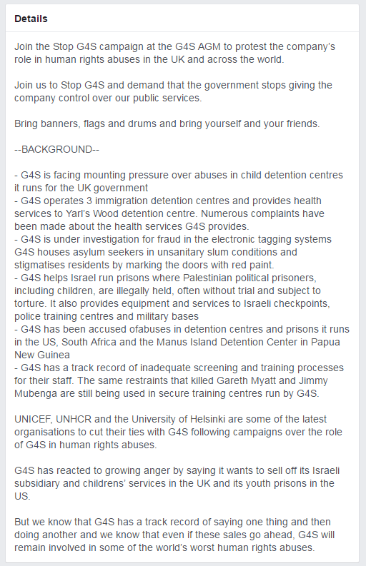 """G4S protest details, taken from the """"Stop G4S"""" campaign page on social media. Disclaimer - KOSHH cannot verify the authenticity of these claims."""