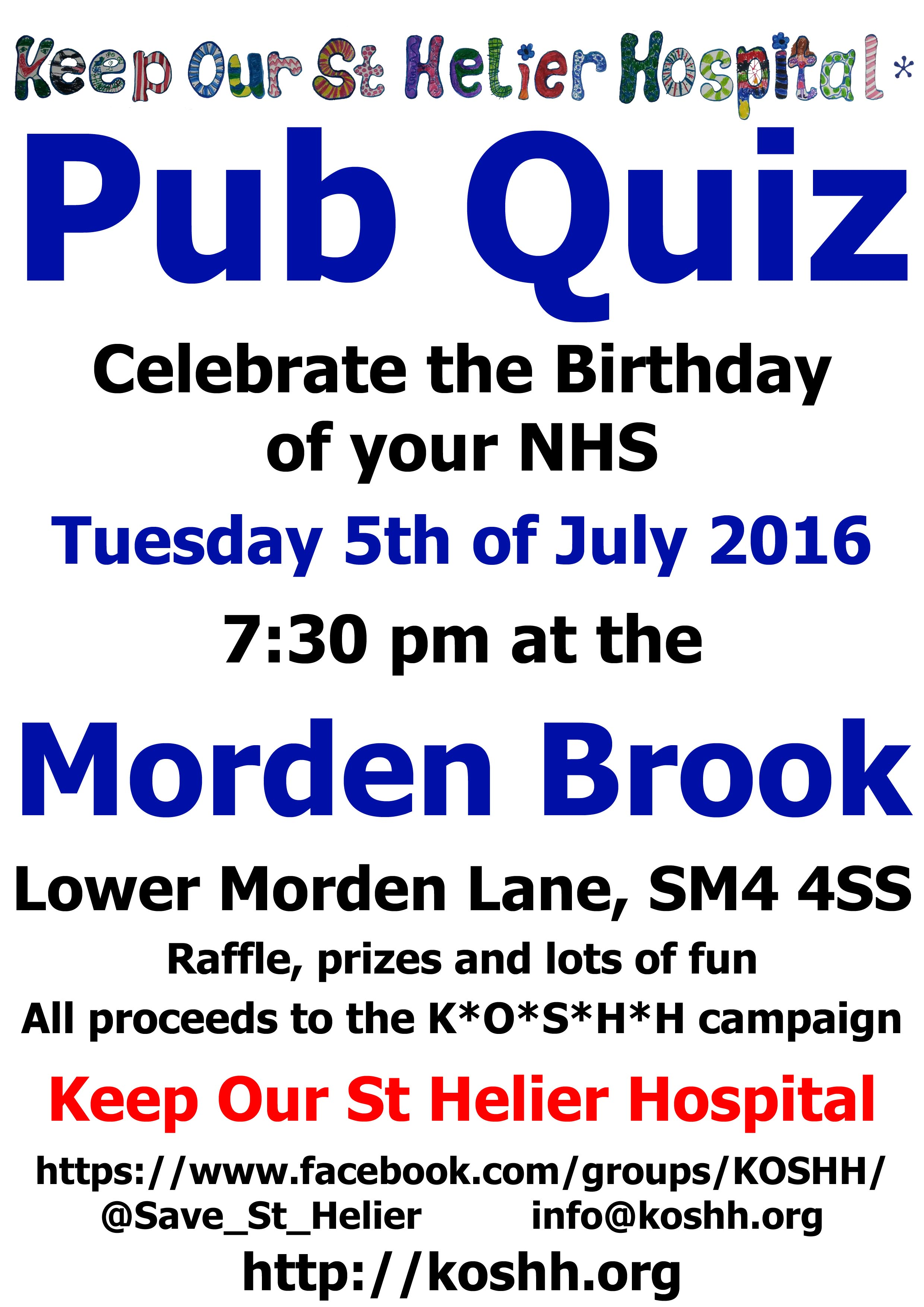 2016 07 05 - KOSHH Pub Quiz Flyer v2.1 copy